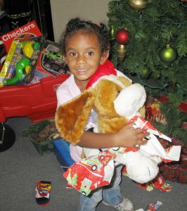Black girl with gift