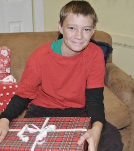 White boy with gift